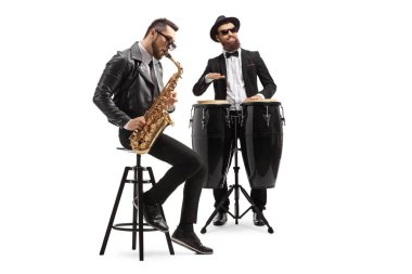 Two male musicians playing a sax and a conga drum isolated on white background