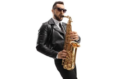 Guy in a leather jacket playing a sax isolated on white background