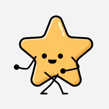 An illustration of Cute Yellow Star Mascot Vector Character in Flat Design Style