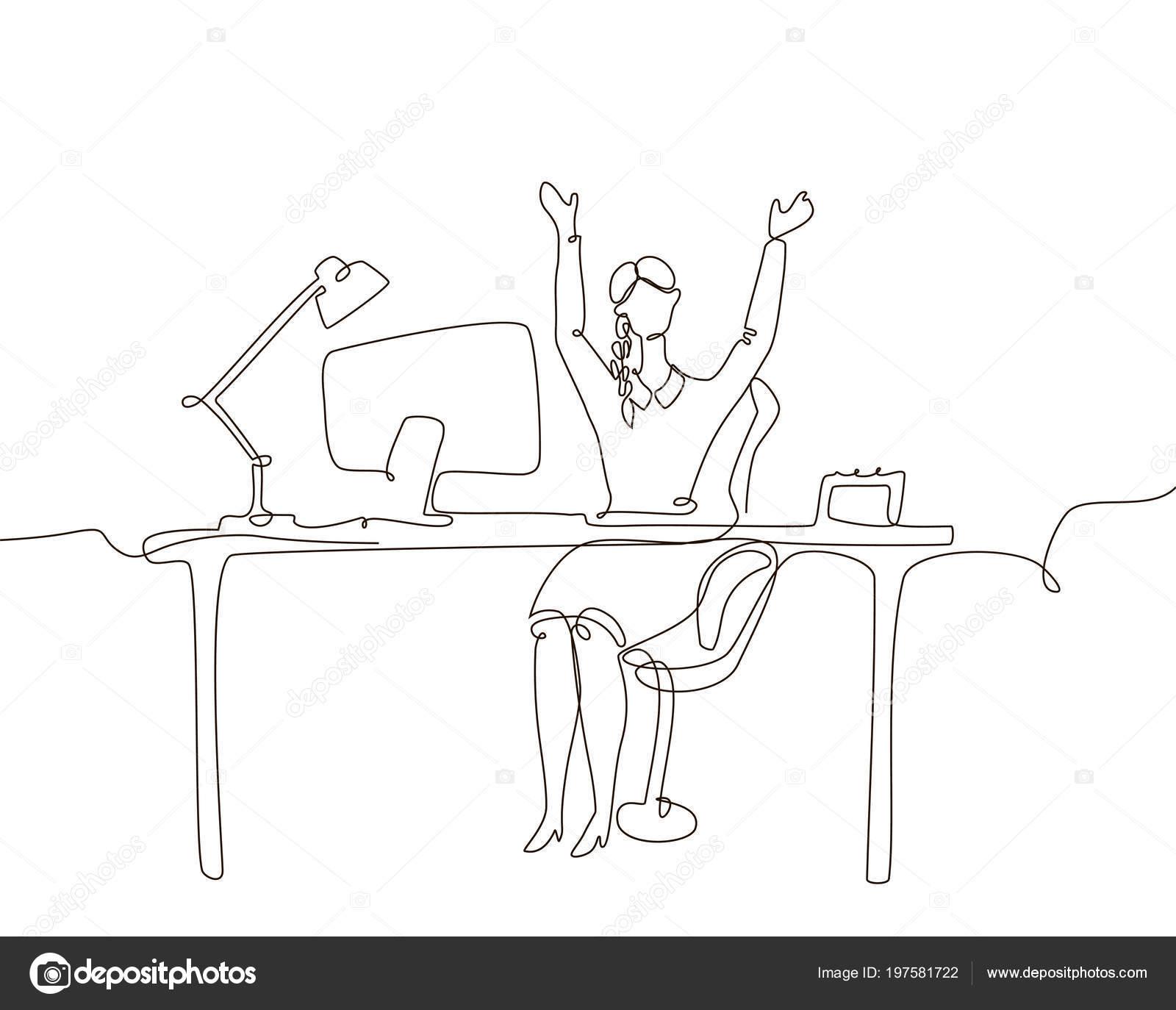 Pracownik Biurowy Ilustracja Jeden Wiersz Projekt Styl