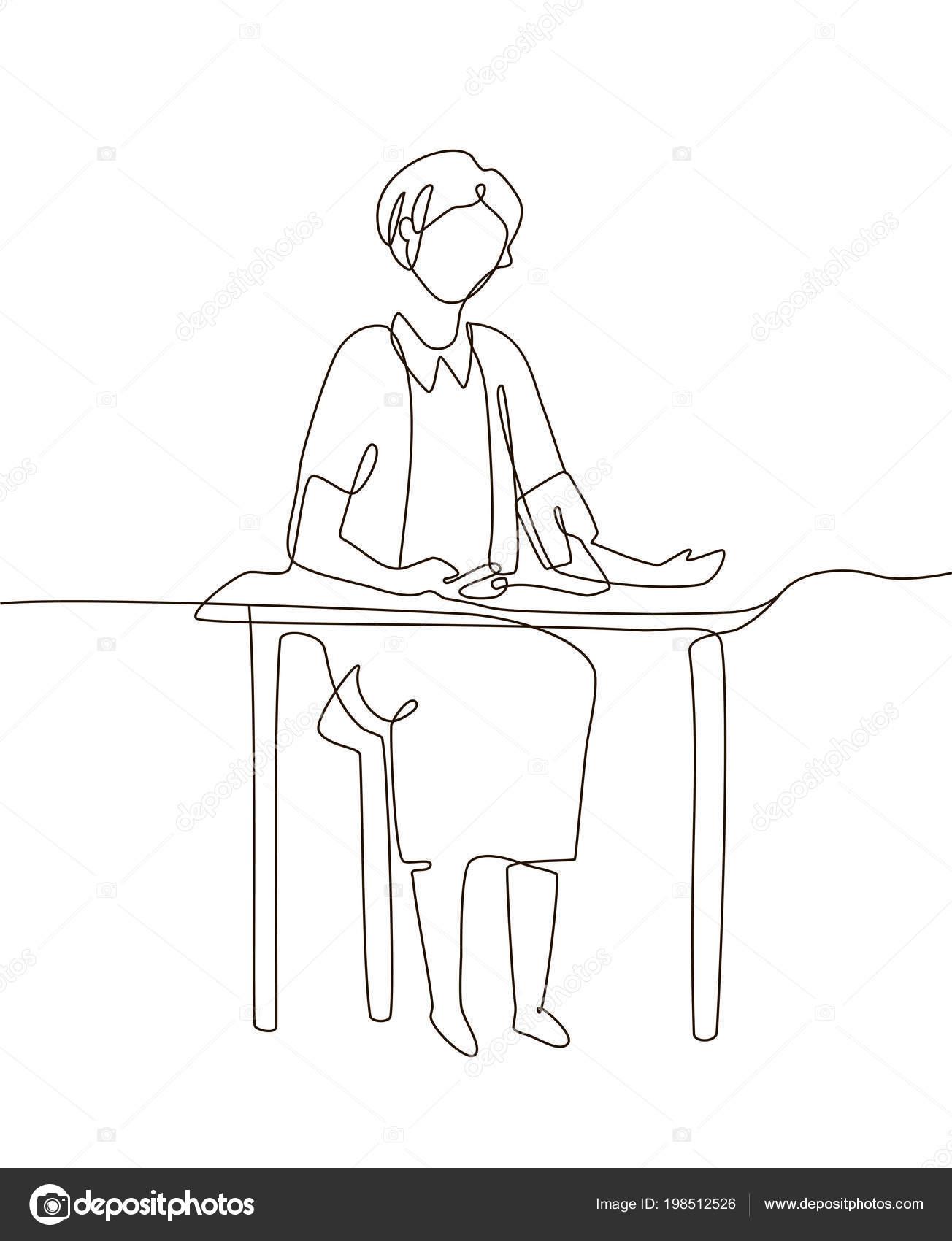 Kobieta Mierzy Ciśnienie Krwi Ilustracja Jeden Wiersz
