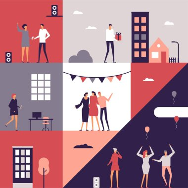 Party - flat design style conceptual illustration