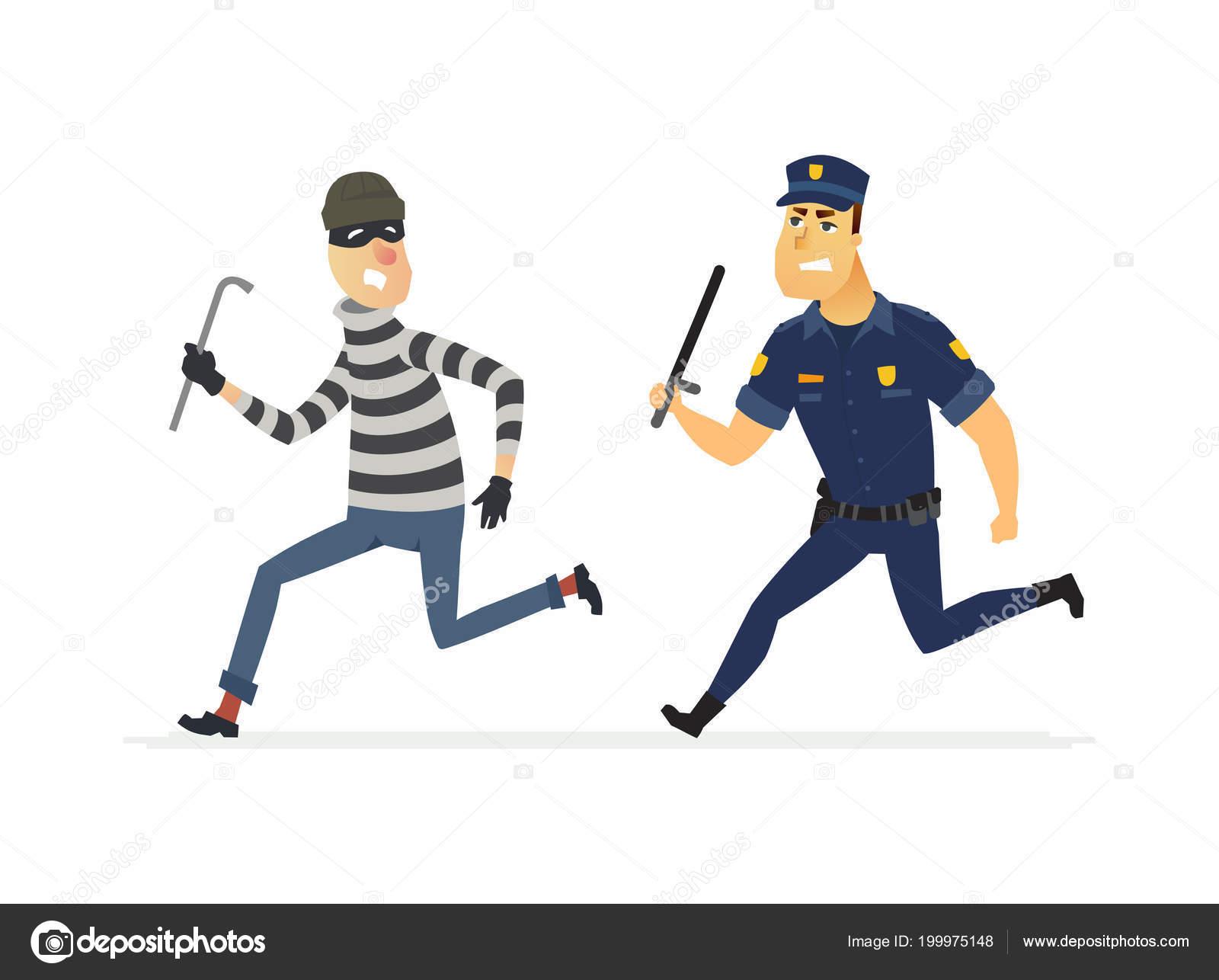 Einbrecher Und Polizist Cartoon Menschen Zeichen Abbildung