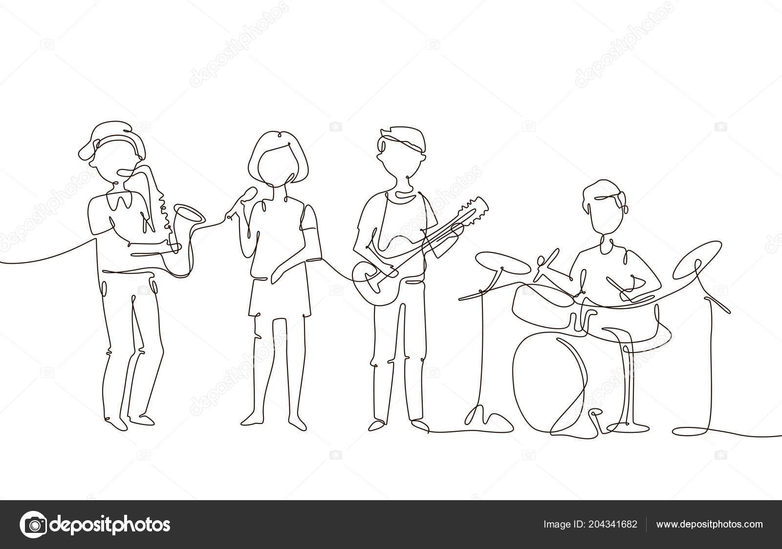 Szkoła Muzyczna Ilustracja Jeden Wiersz Projekt Styl