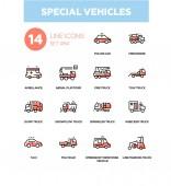 Photo Special vehicles - line design icons set
