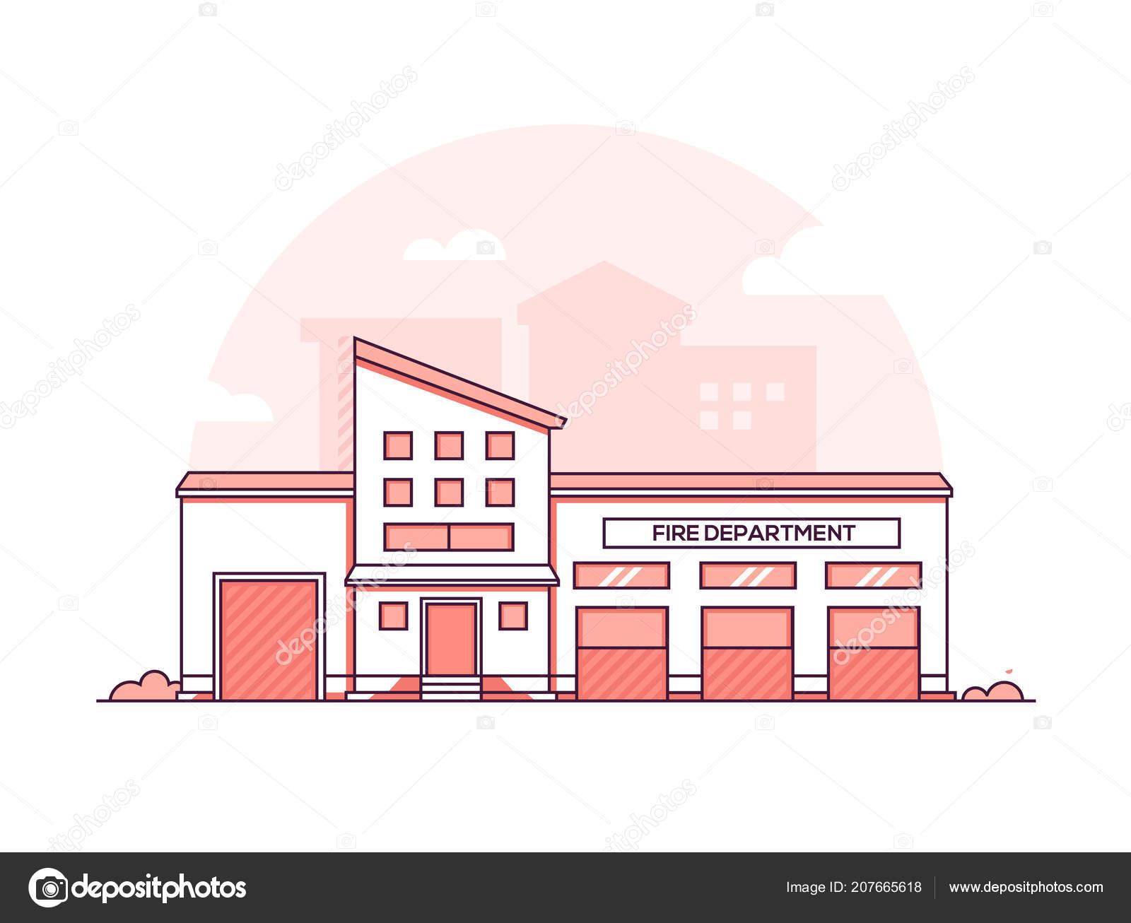 Fire department modern thin line design style vector illustration stock vector