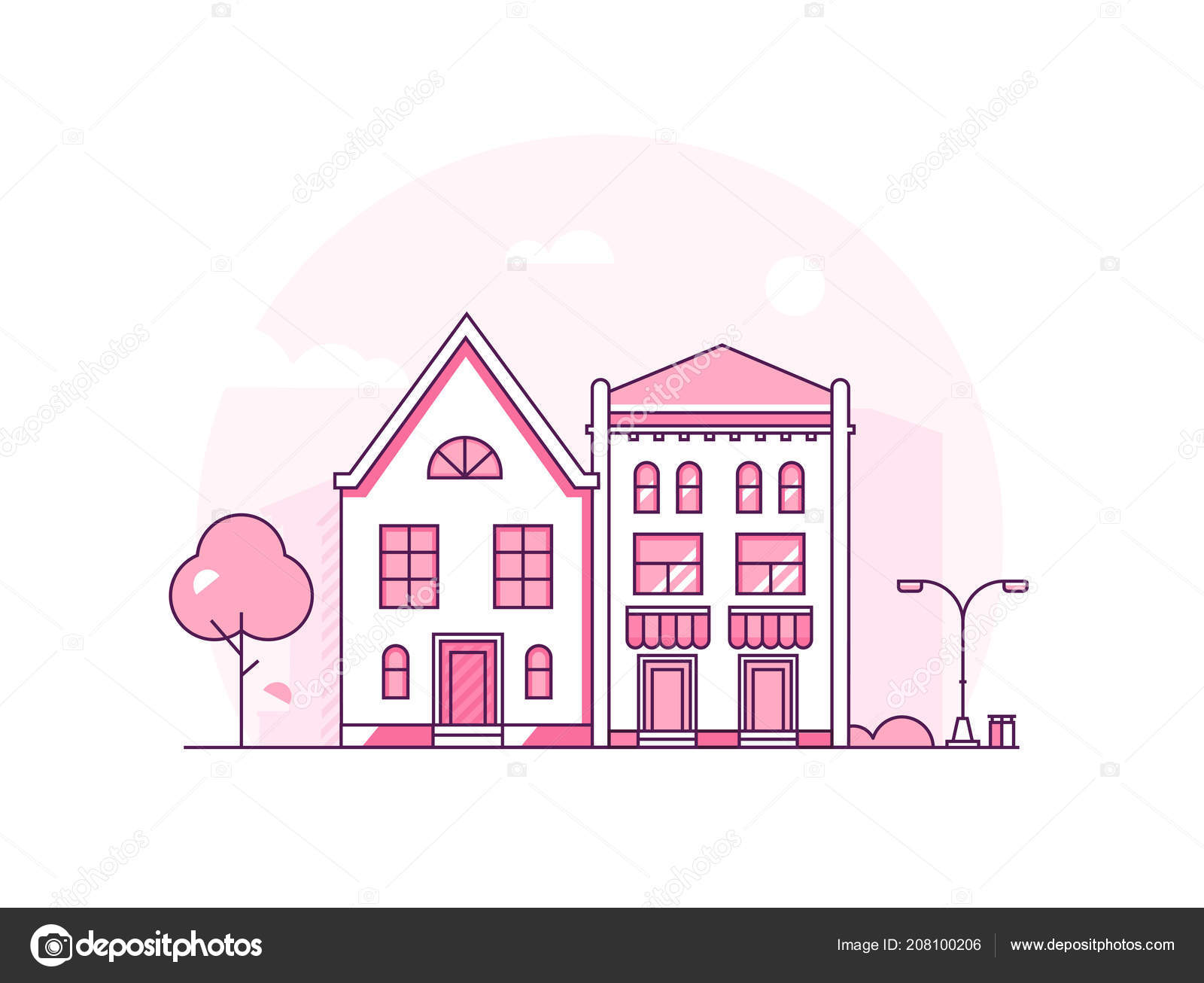 City architecture - modern thin line design style vector ...