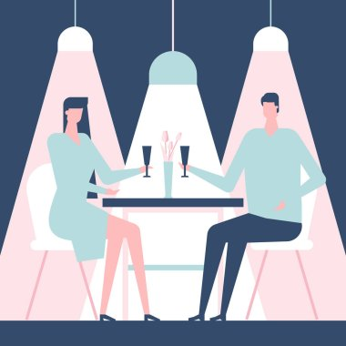 Couple on a date - flat design style colorful illustration