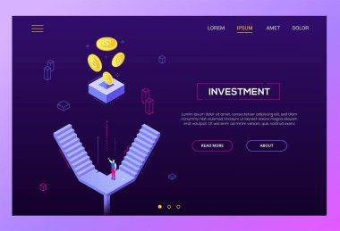 Investment concept - modern isometric vector website header