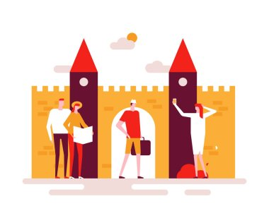 Sightseeing tour - colorful flat design style illustration