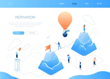 Motivation - modern colorful isometric vector web banner