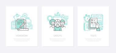 Homework assignment, task concept vector icons set. Social group, networking idea line illustrations. Test, knowledge check, achievements assessment isolated outline drawings. Education theme icon