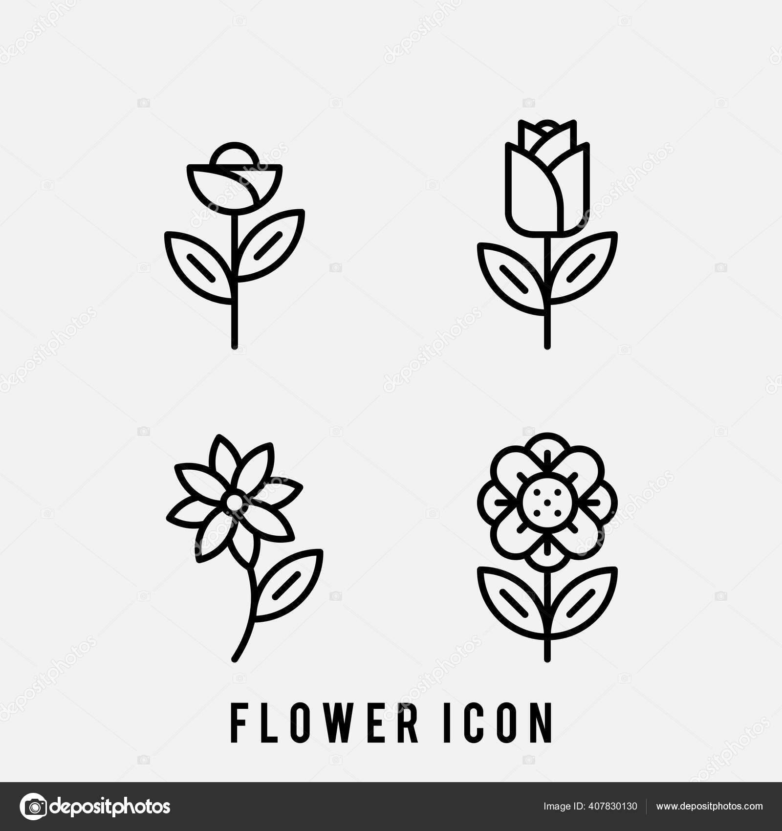 Set Ikon Bunga Tulip Rose Set Ikon Bunga Dalam Desain Stok Vektor C Natchaxyamx 407830130
