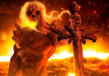 Demon prince with flame hair and skeleton head holding a skull engraved sword horizontal view on hellish background.
