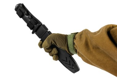 Isolated hand with black hunting knife.