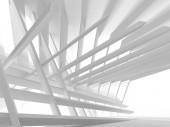 Bílá architektury moderní interiérové výstavbě. 3D vykreslování obrázku