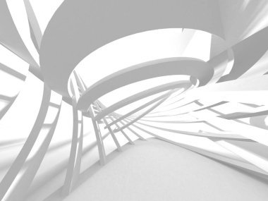 Abstract modern white architecture 3d render illustration background. stock vector