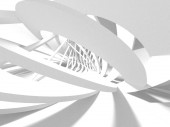 Abstract modern white architecture 3d render illustration background.