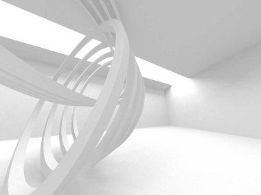 Futuristic White Architecture Design Background. 3d Render Illustration stock vector
