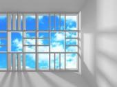 futuristische weiße Architektur Design auf bewölkten Himmel Hintergrund