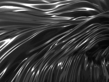 Metallic abstract wavy liquid background. 3d render illustration stock vector