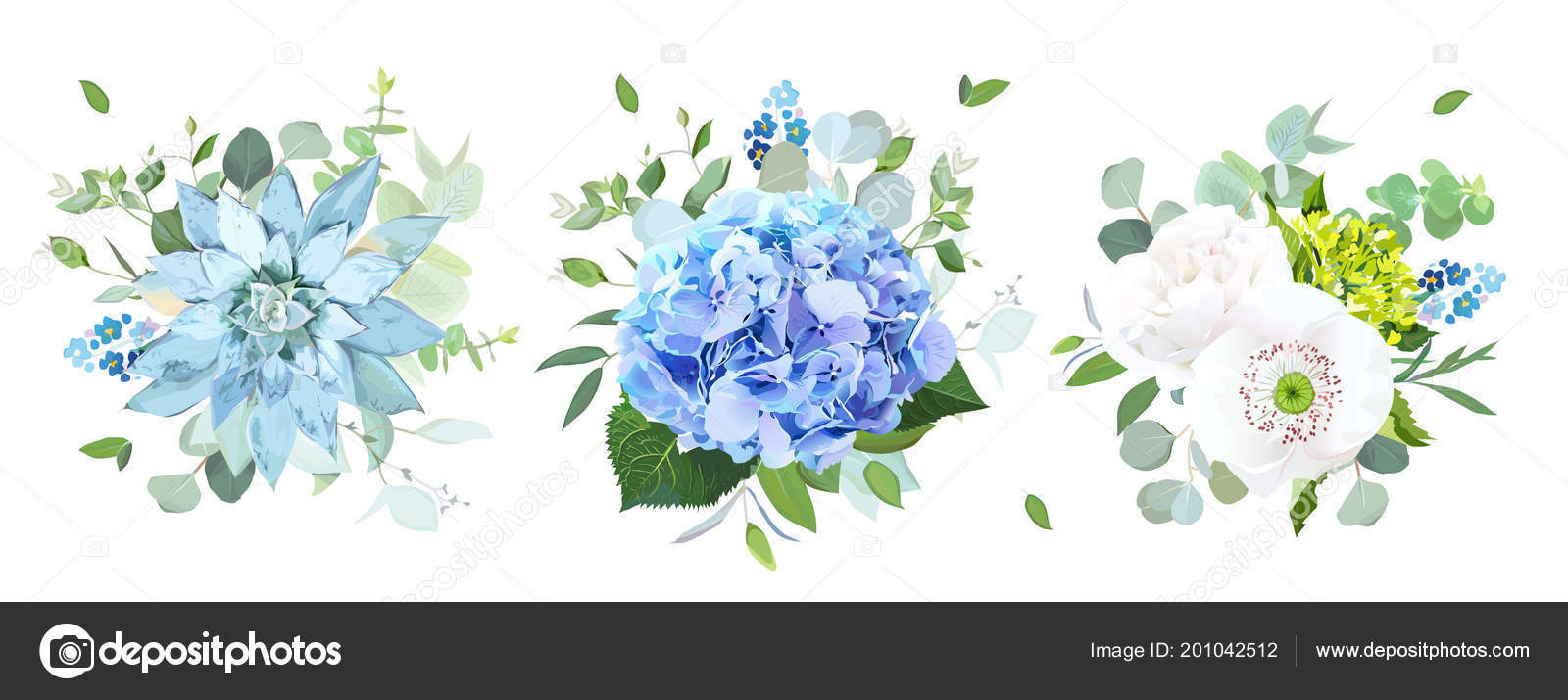 Blue and white flowers vector design bouquets stock vector blue and white flowers vector design bouquets stock vector izmirmasajfo