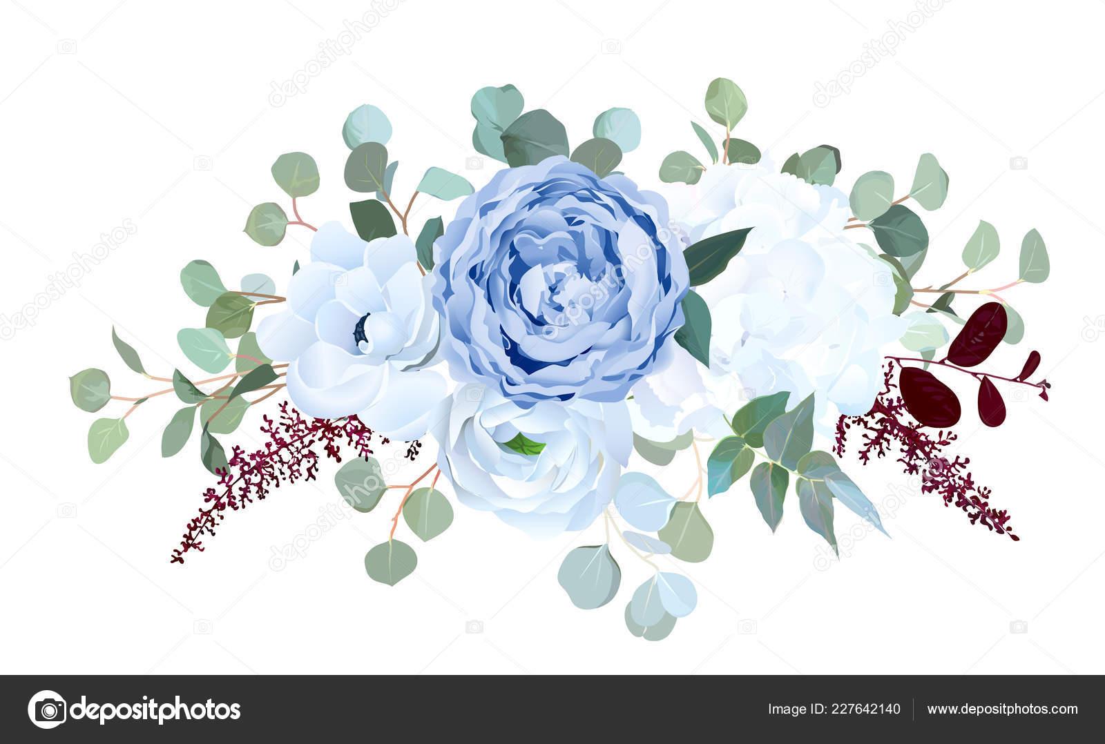 Dusty Blue Rose White Hydrangea Ranunculus Anemone Eucalyptu Vector Image By C Lavendertime Vector Stock 227642140
