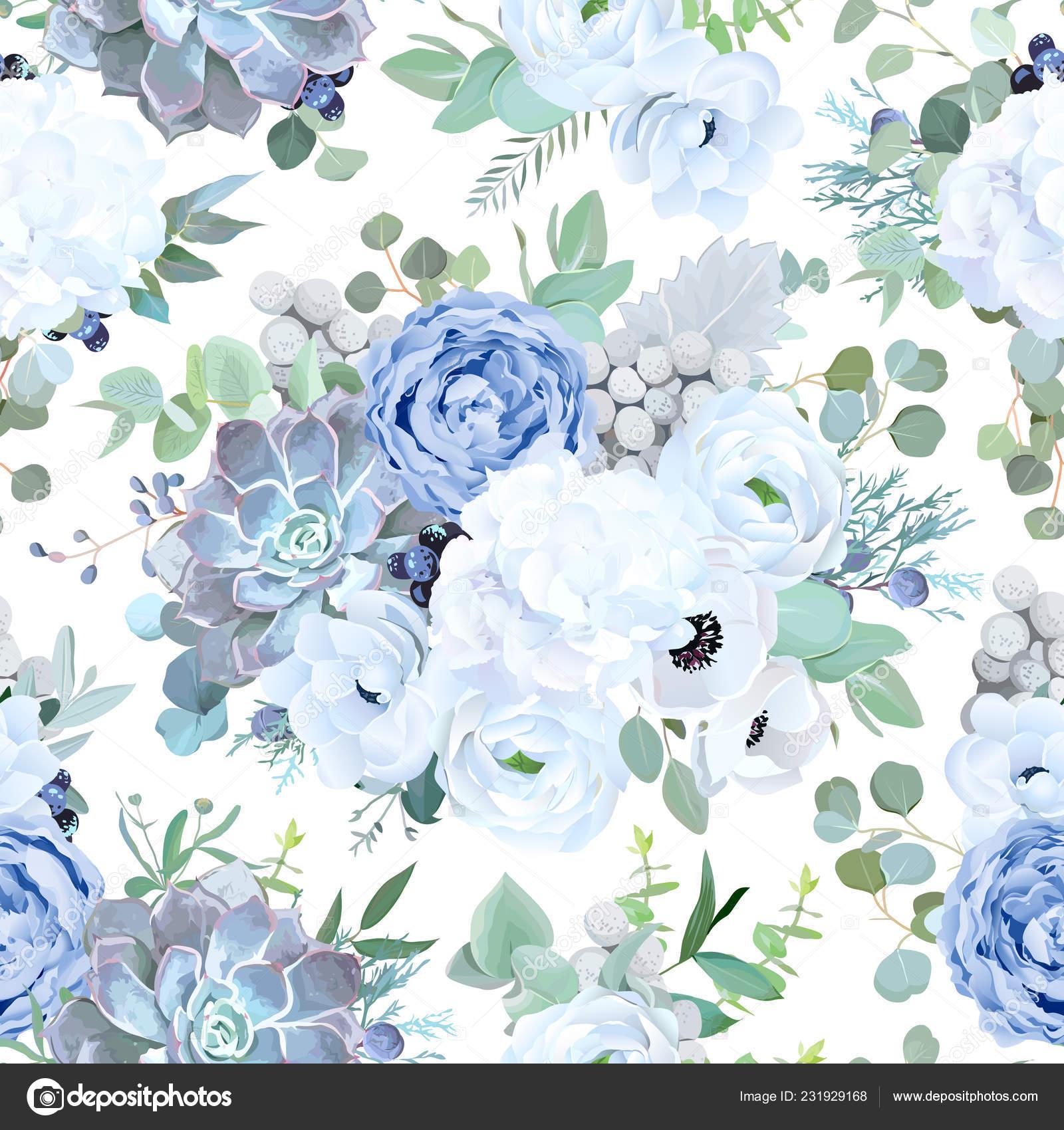 5a530689cc38 Padrão de design vetorial sem emenda de pó azul jardim rosa, whit — Vetor de