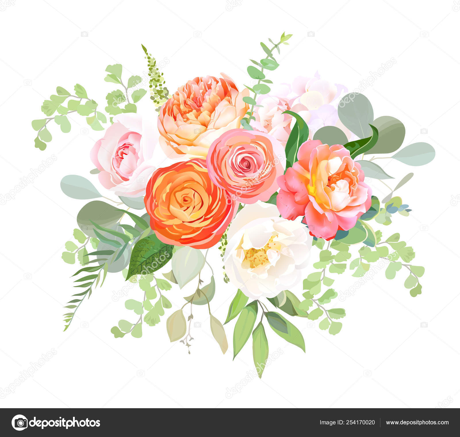 Orange Ranunculus Pink Rose White Hydrangea Juliet Rose Garden Flowers Vector Image By C Lavendertime Vector Stock 254170020