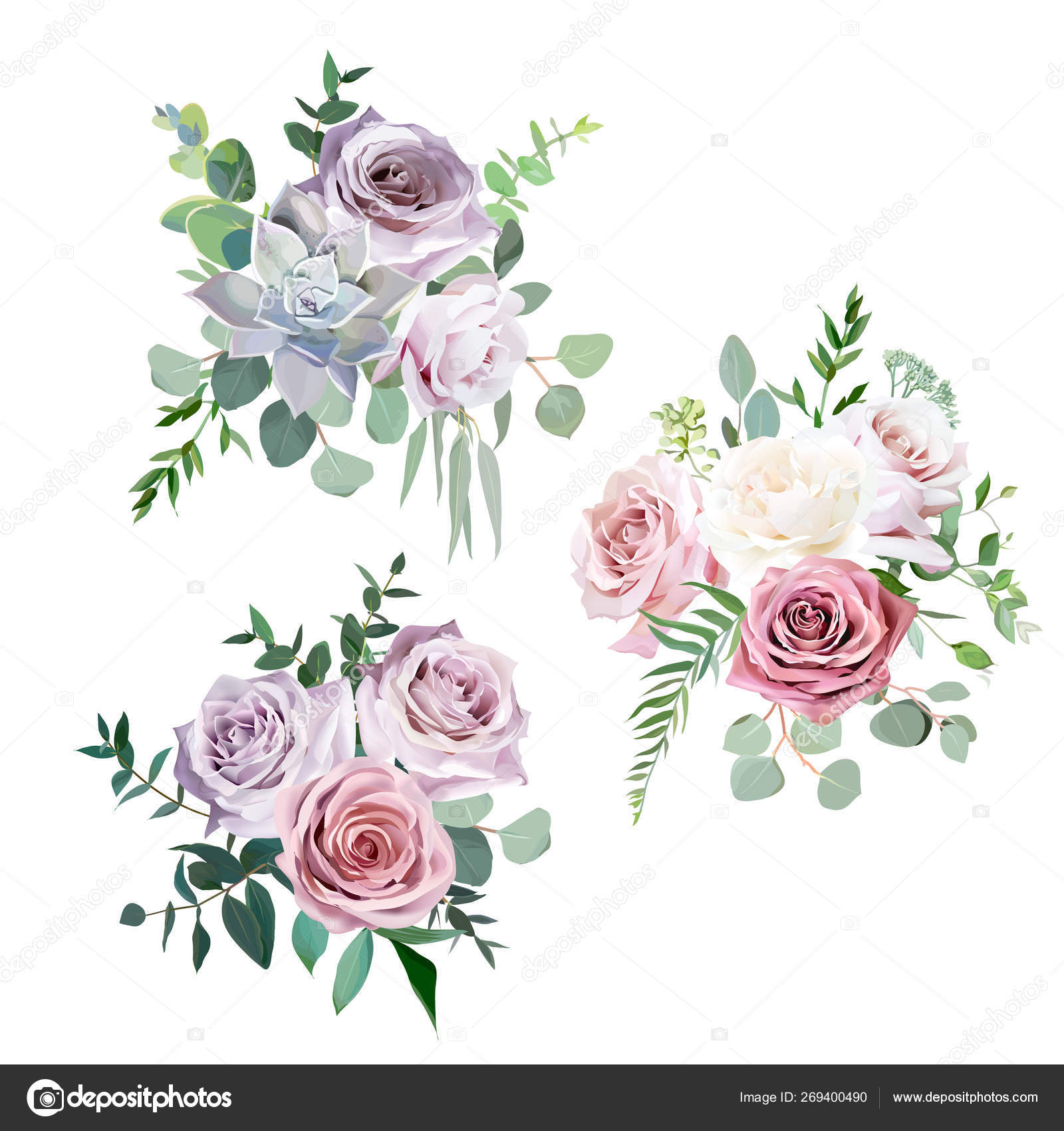 Dusty Pink Flowers Weddings Dusty Pink Creamy White And Mauve Antique Rose Vector Design Wedding Bouquets Stock Vector C Lavendertime 269400490