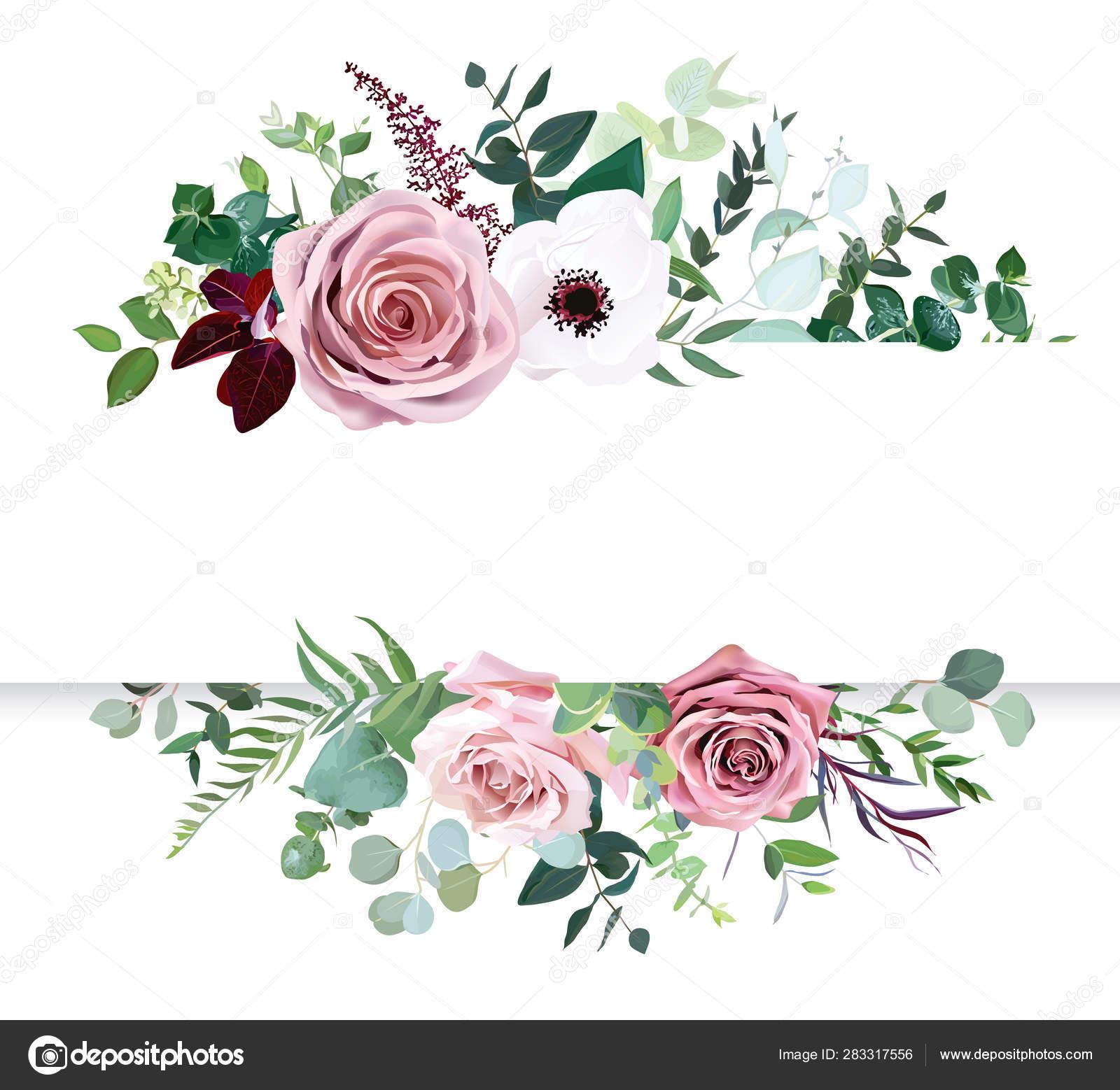 Dusty Pink Rose Pale Flowers White Anemone Horizontal Botanical