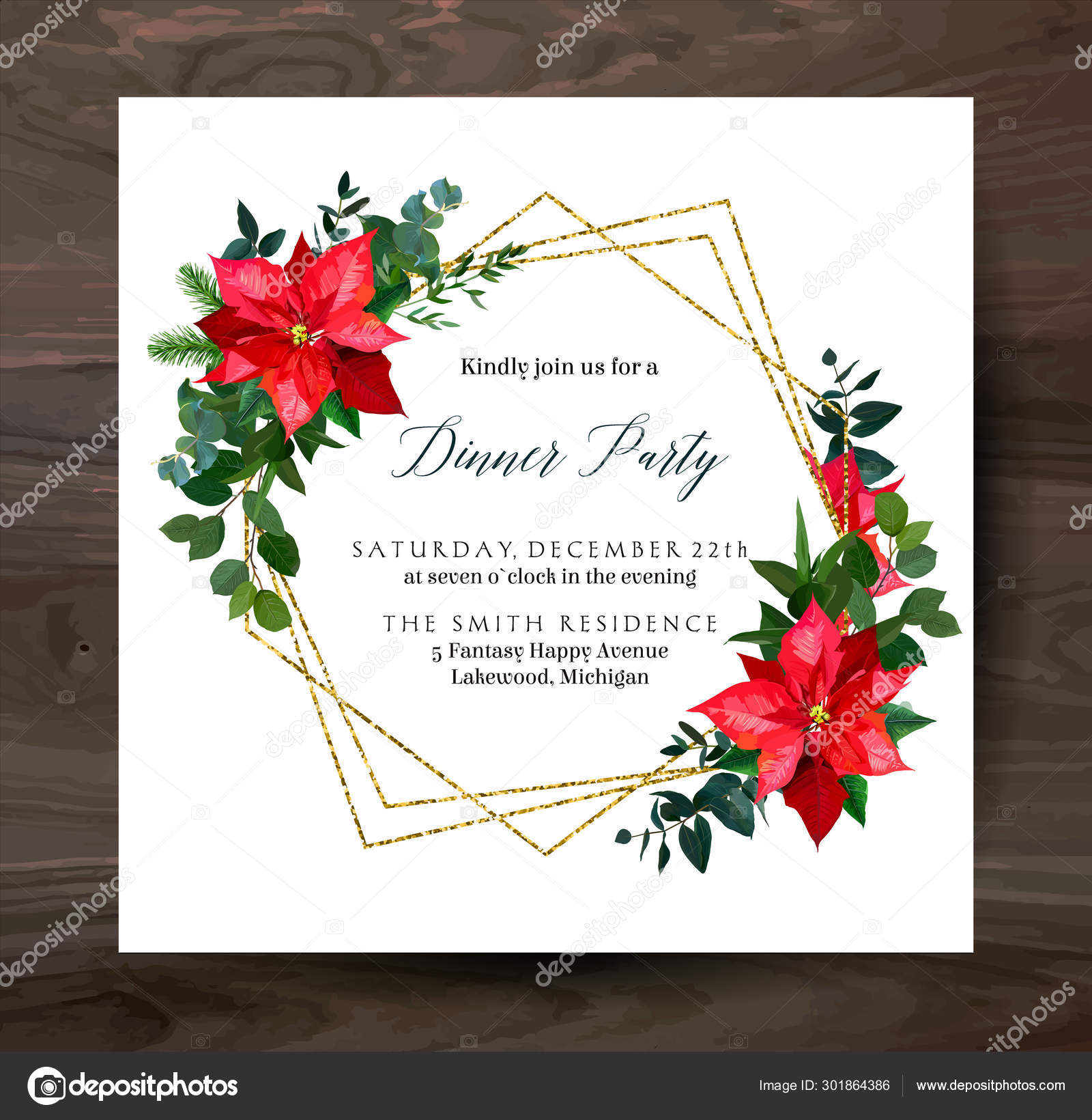 Christmas Greenery Vector.Red Poinsettia Flowers Christmas Greenery Mix Of Seasonal