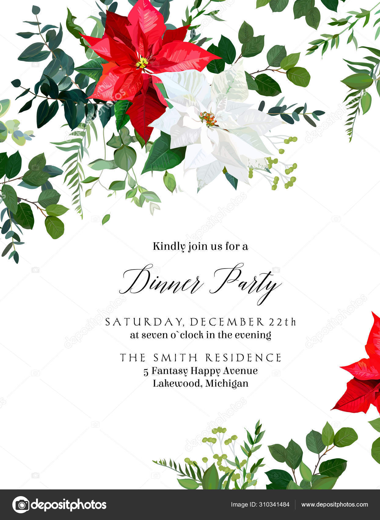 Winter Chic Wedding Or New Year Party Invitation Card