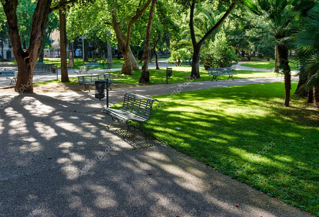 Park inside the city of Sassari, Sardinia, in a sunny day of spring