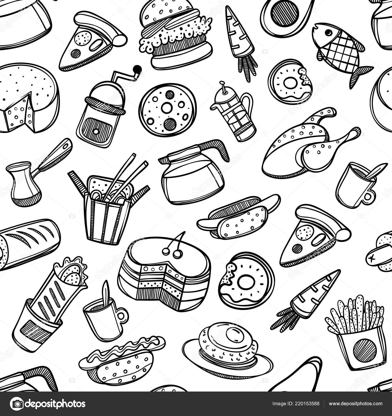 Dibujos Animados Lindo Alimentos Utensilios Cocina Fondo Blanco