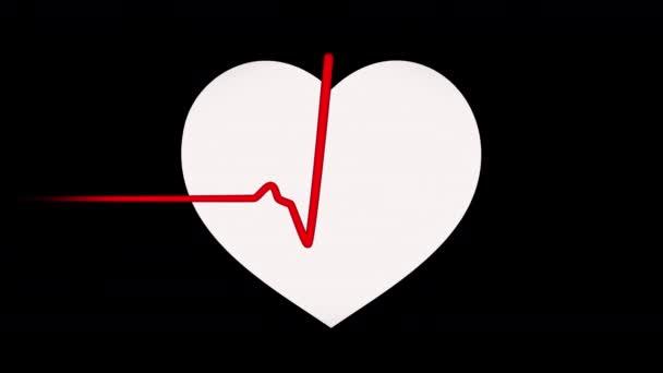 Pulzující rudé srdce s plochým tepem srdce