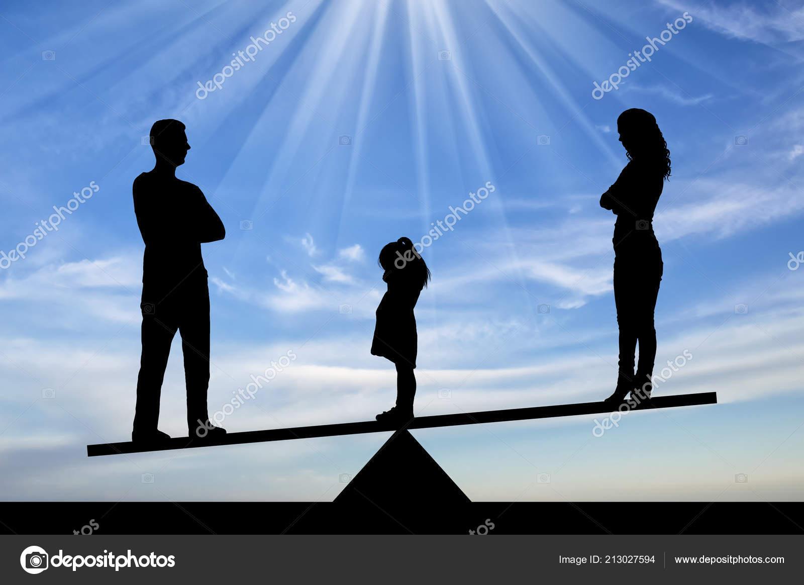 Images Divorce Sad Divorce Family Silhouette Little Sad Girl Crying Standing Mom Dad Stock Photo C Prazisss 213027594