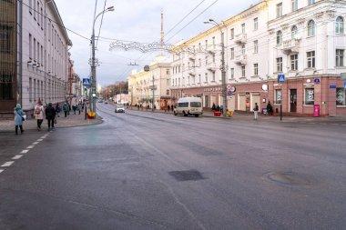 01 05 2020 Gomel, Republic of Belarus. city center of gomel. Sovetskaya streets, road traffic