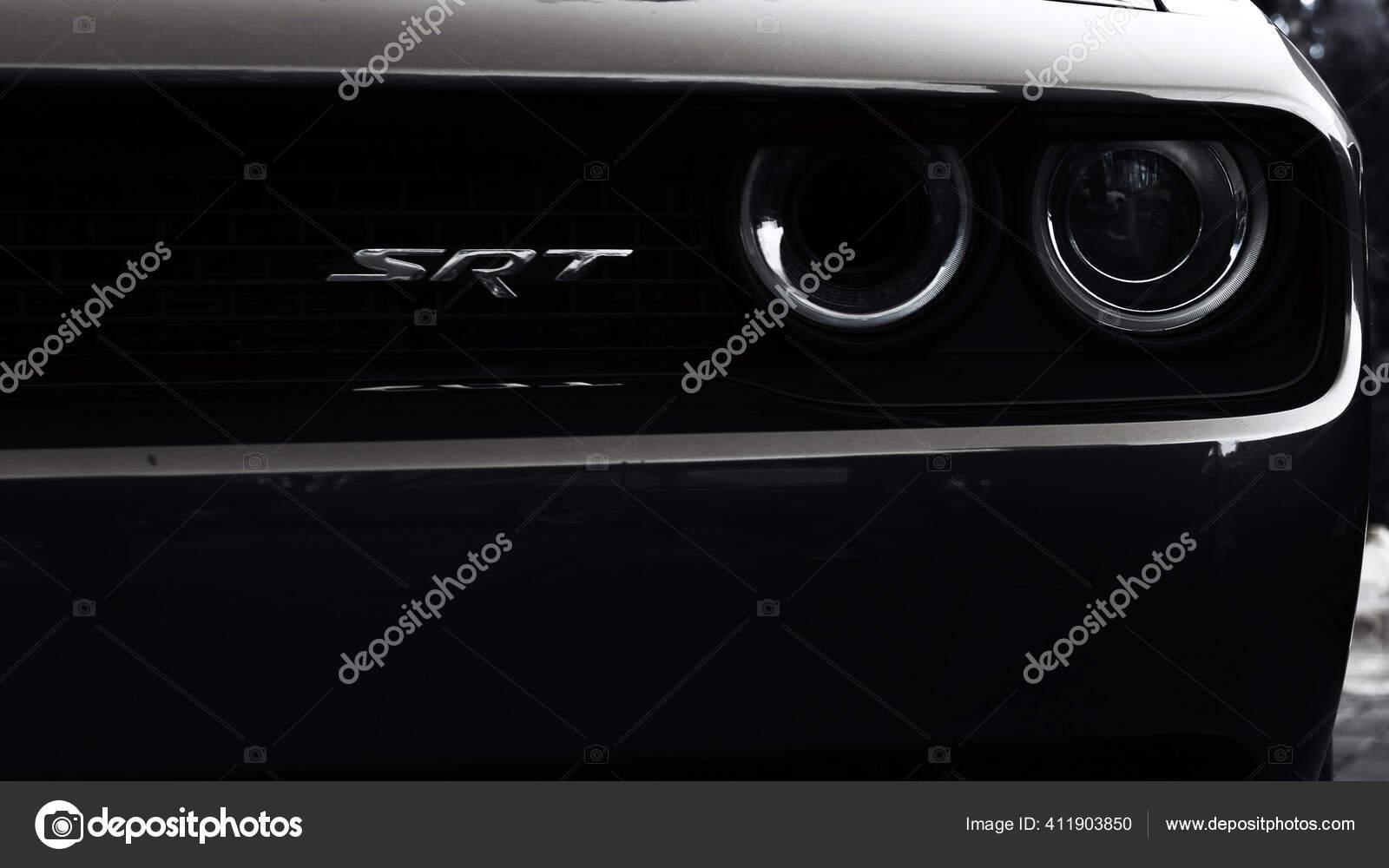 Tomsk Russia July 17 2020 Black Dodge Challenger Srt Hellcat Automobile Close Up Front View Stock Editorial Photo C Alexeykhodus 411903850