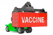 Photo Vaccine delivery concept. Reach stacker holding cargo container with vaccine , 3D rendering isolated on white background