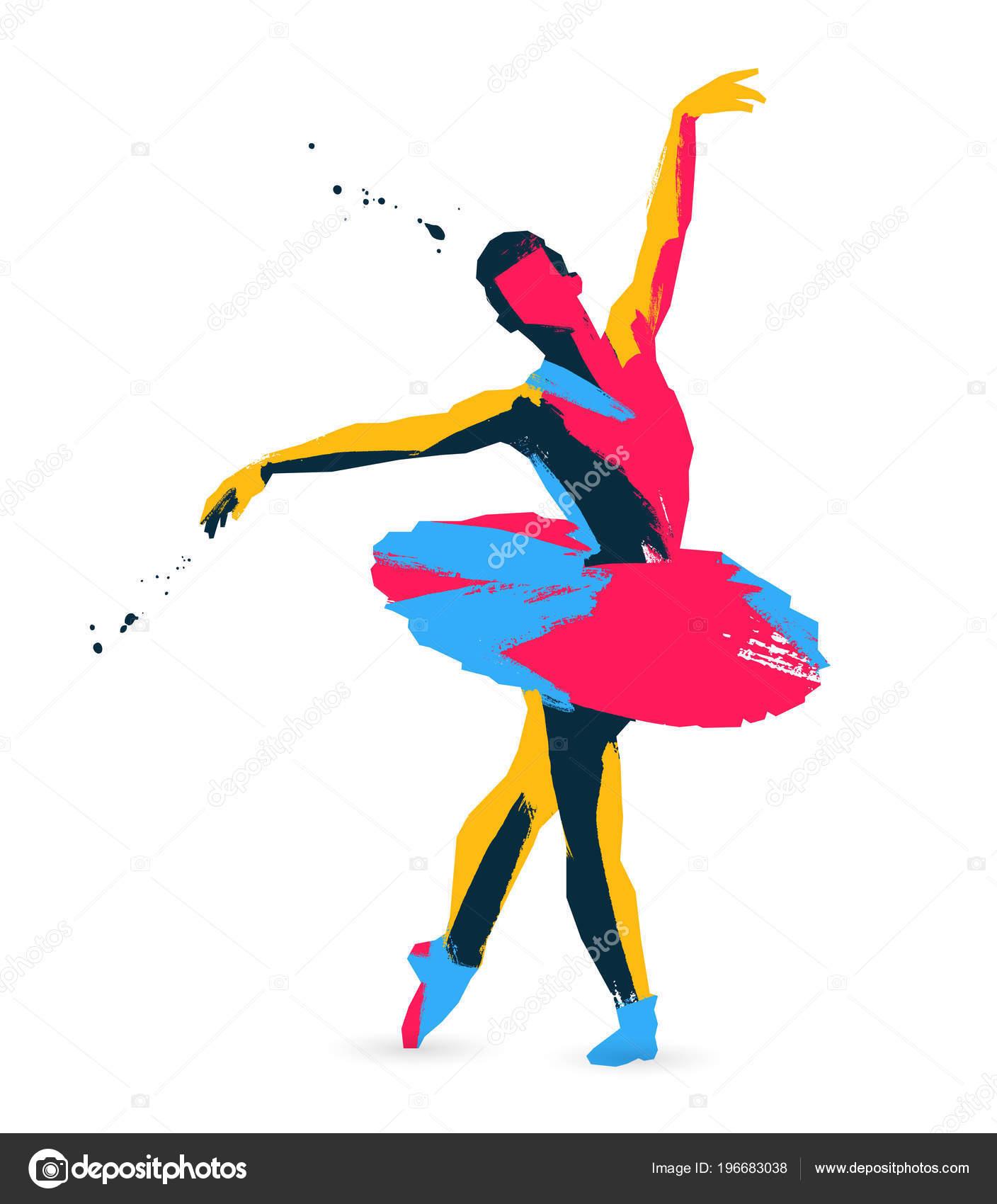 Dibujo Coloreado Bailarina Ilustración Vector Sobre Fondo
