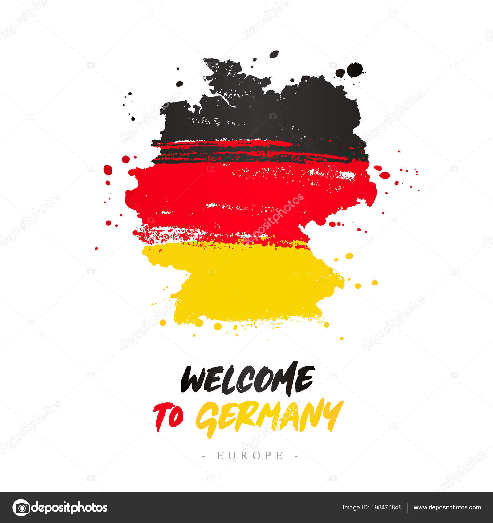Country Of Germany Map.Welcome Germany Europe Flag Map Country Germany Brush Strokes