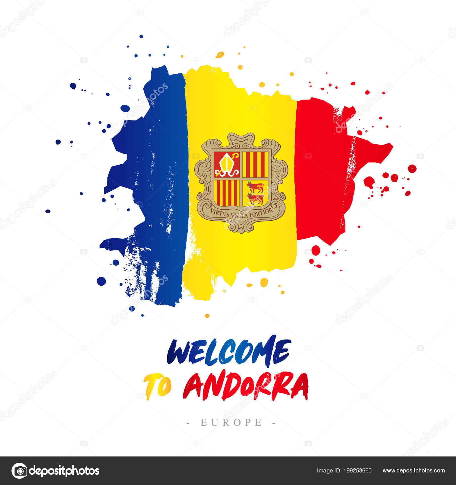 Welcome Andorra Europe Flag Map Country Andorra Brush Strokes