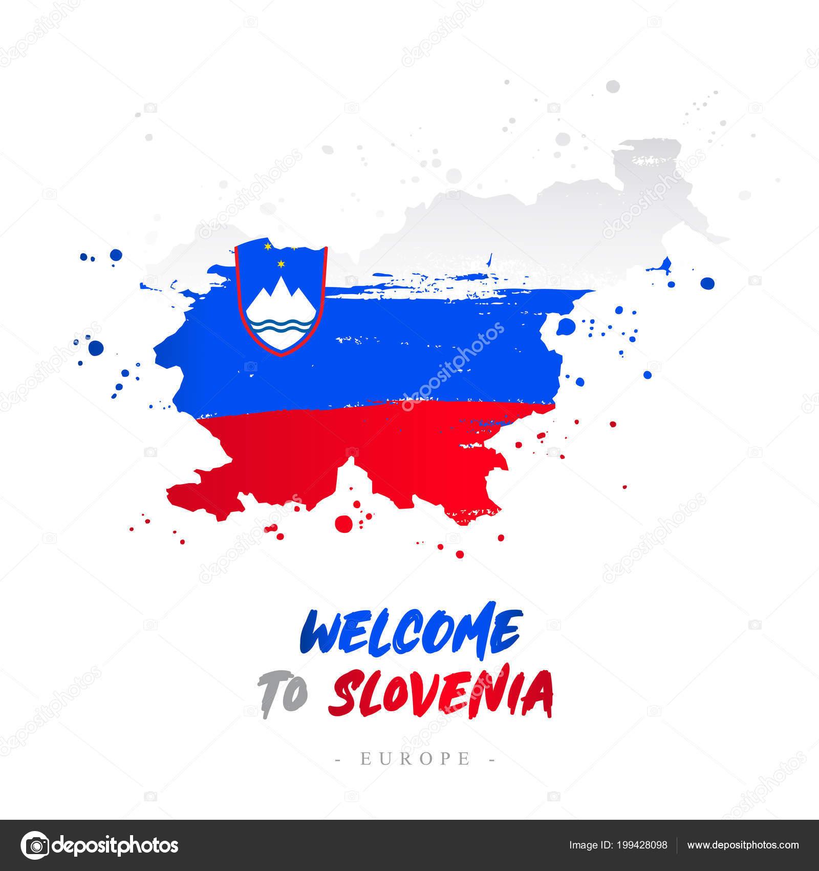 Welcome Slovenia Europe Flag Map Country Slovenia Brush Strokes ...