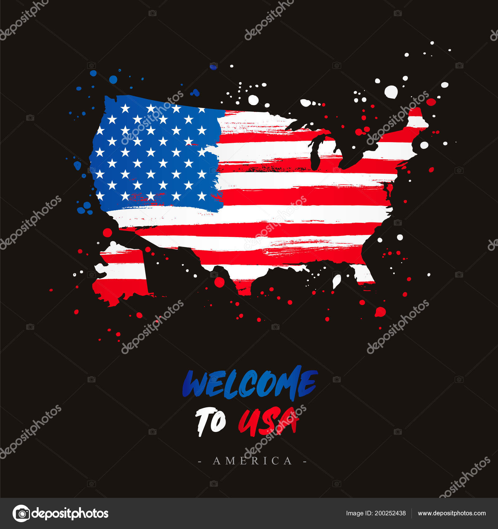 Map Of Country Usa.Welcome Usa America Flag Map Country Usa Brush Strokes Stock