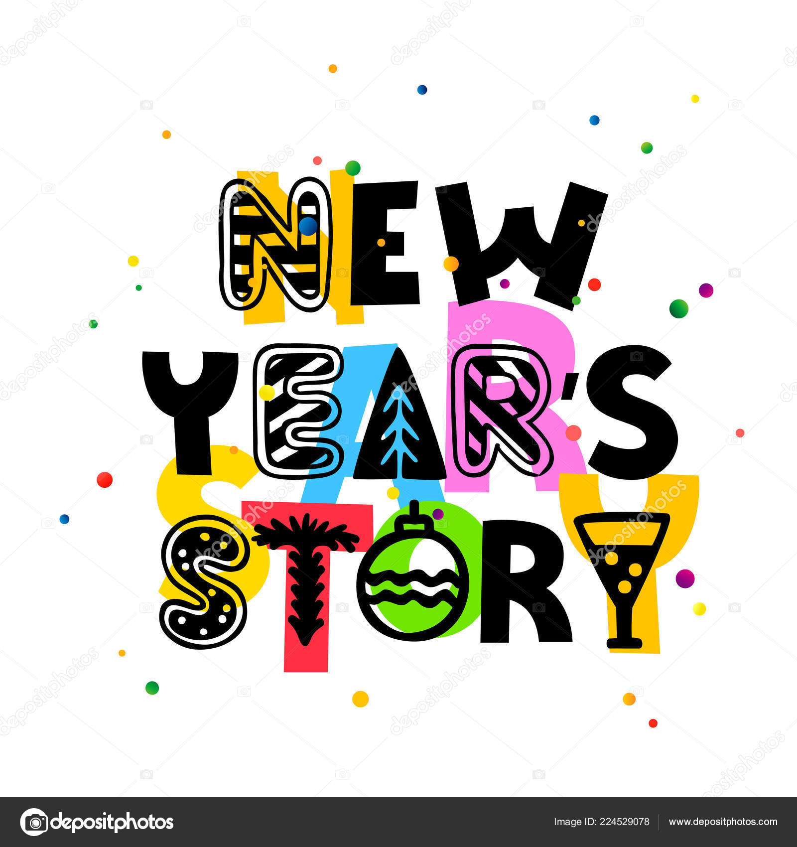 A Christmas Story Logo Vector.New Year Story Lettering Vector Illustration White