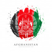 Afghan flag in the shape of a big circle. Vector illustration