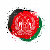 Afghan flag in the shape of a circle. August 19