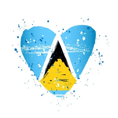 Flag of Saint Lucia in the form of a big heart.