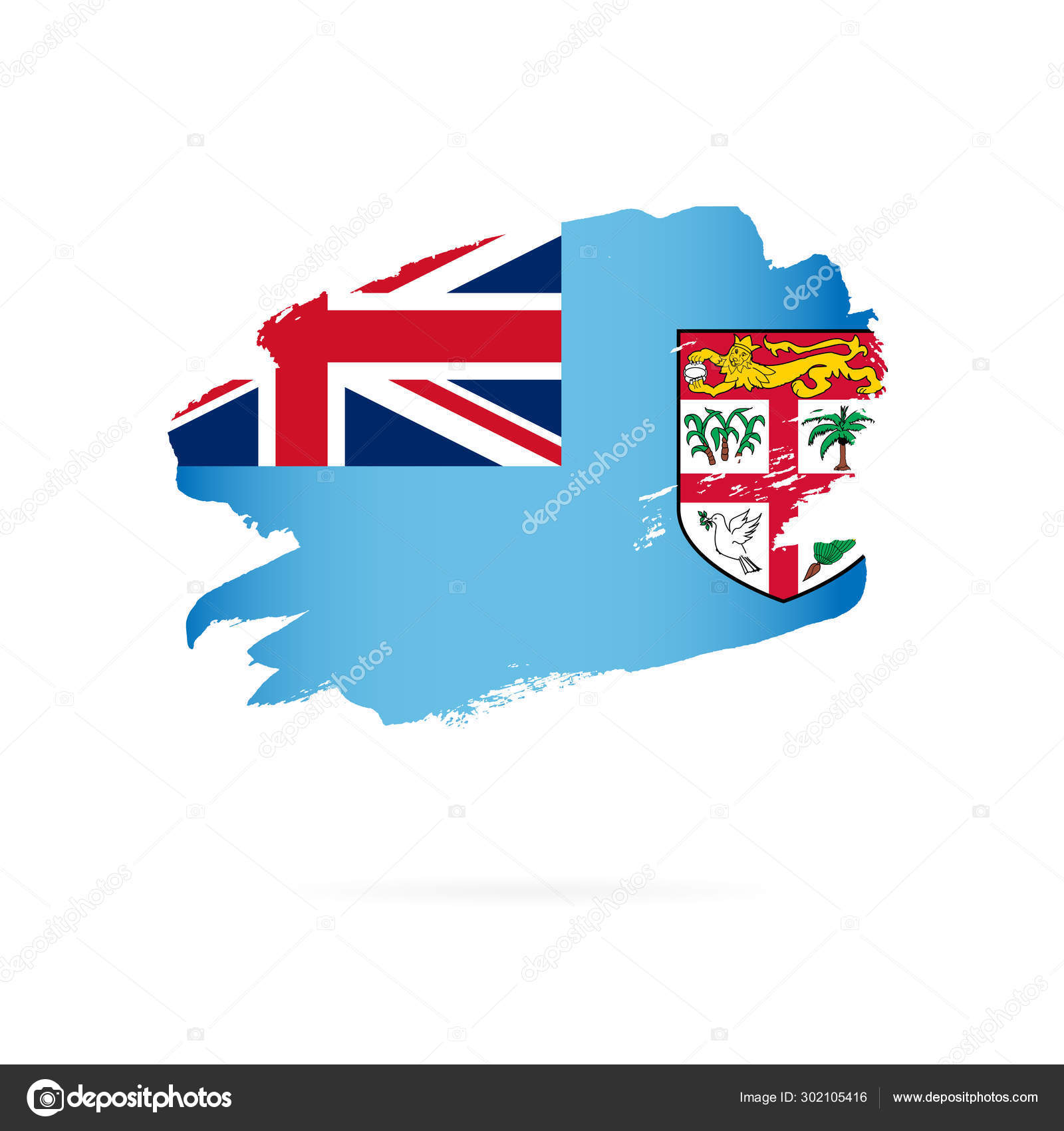 Fiji Flag Vector Illustration Brush Strokes Stock Vector